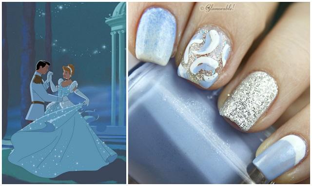 Cinderella Inspired Nail Art; Cinderella image credit: [email protected] - Disney Princess Inspired Nail Art: Cinderella - Glamorable