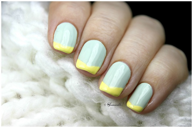 Yellow Chevron French Tips