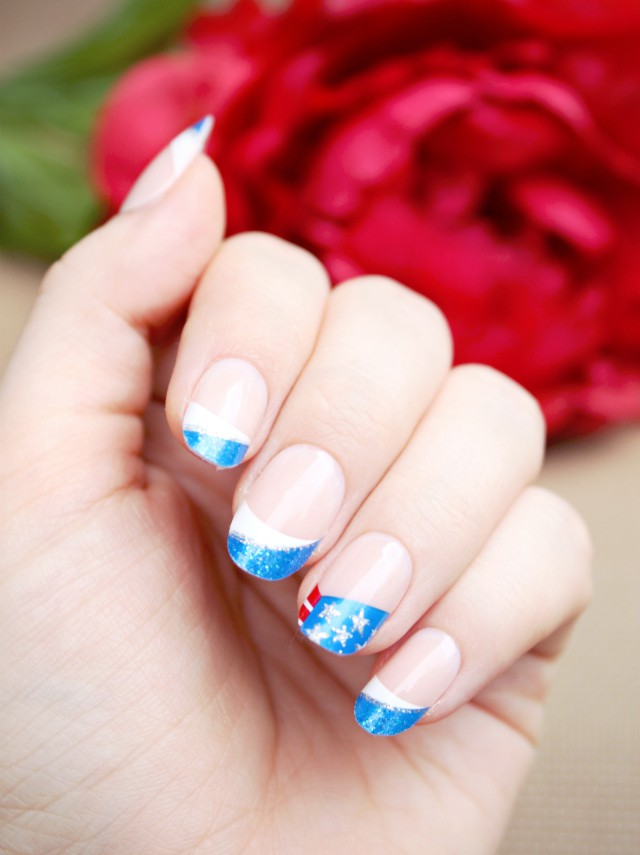 Red, White, and Blue Patriotic Nail Art for 4th of July