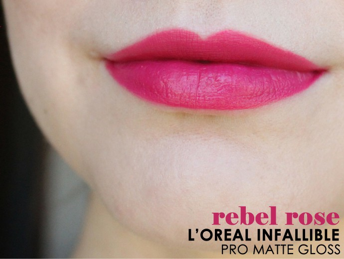 L'Oreal Infallible Pro-Matte Gloss Review, Swatches Rebel Rose