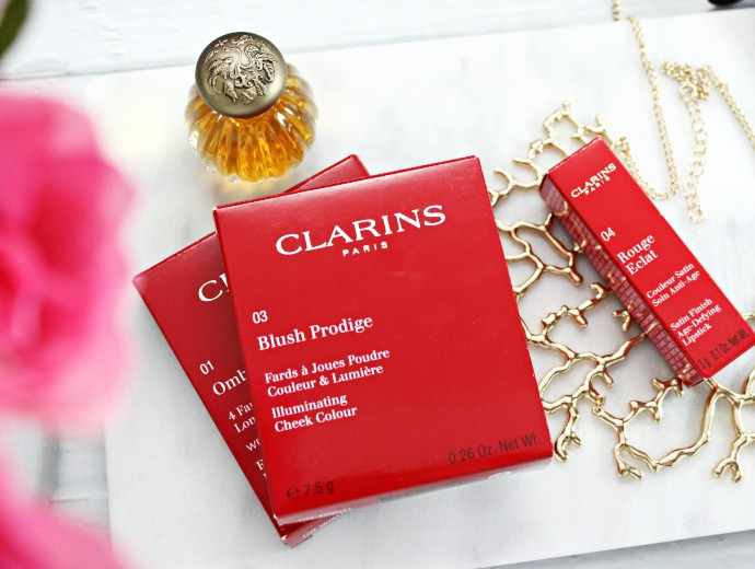 How to Refresh Your Makeup Look for Spring, Clarins Eye Quartet Mineral Palette #01 Pastels, Clarins Blush Prodige Illuminating Cheek Color #03 Miami Pink, Clarins Rouge Eclat Satin Finish Age Defying Lipstick #04 Tropical Pink Swatches