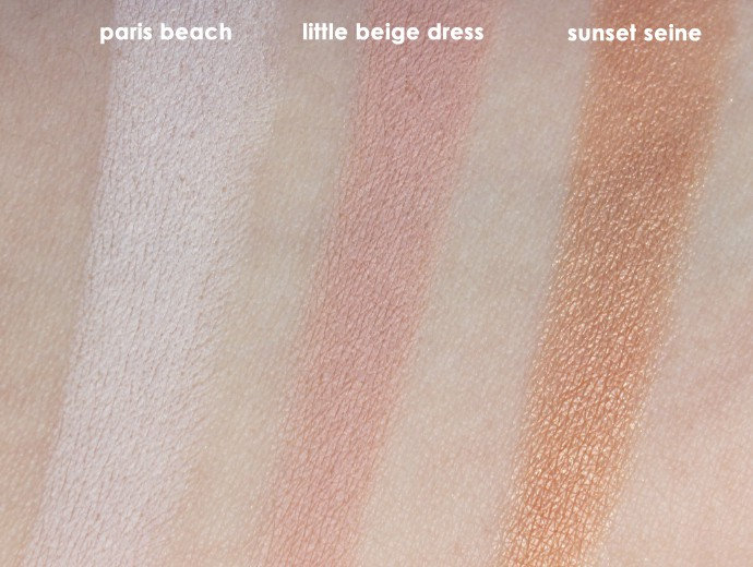L'Oreal Infallible Colour Riche Mono Eyeshadows, Loreal Mono Shadows, Loreal Monos, Paris Beach Swatch, Little Beige Dress Swatch, Sunset Seine Swatch
