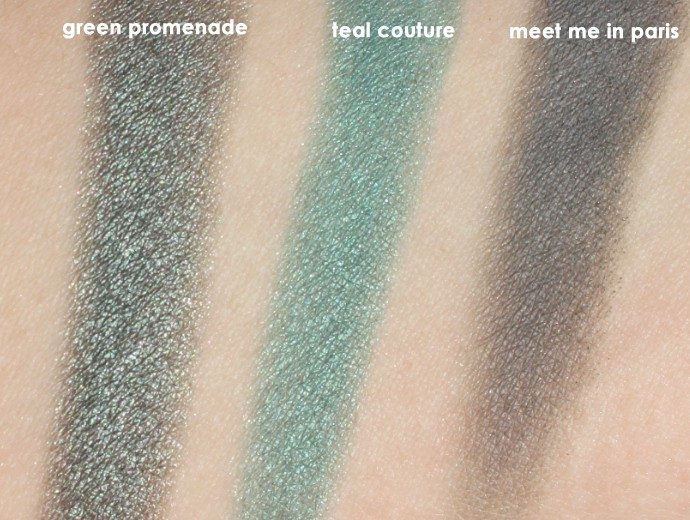 L'Oreal Infallible Colour Riche Mono Eyeshadows, Loreal Mono Shadows, Loreal Monos, green promenade Swatch, teal couture Swatch, meet me in paris Swatch