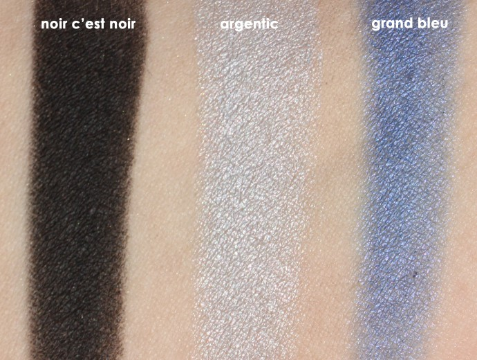 L'Oreal Infallible Colour Riche Mono Eyeshadows, Loreal Mono Shadows, Loreal Monos, Noir C'est Noir Swatch, Argentic Swatch, Grand Bleu Swatch