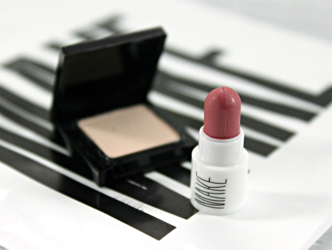 MAKE Silk Cream Lipstick in Taffy, MAKE Matte Finish Eyeshadow in Alabaster, MAKE makeup Review