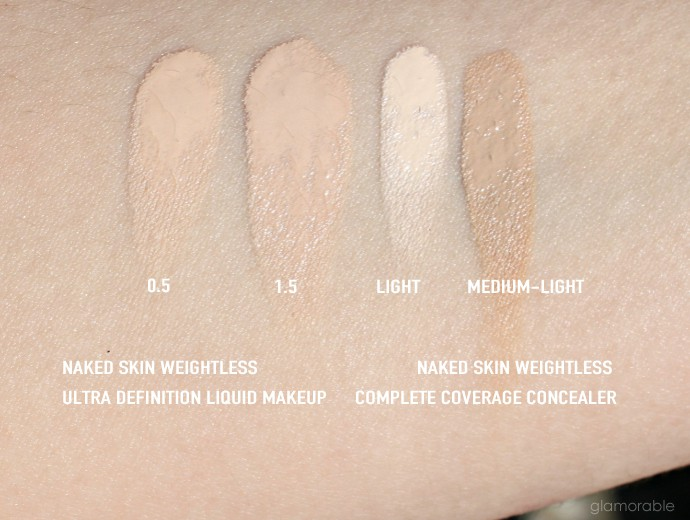 The Easiest Way to Contour Fair Skin with Urban Decay Naked Skin Weightless Ultra Definition Liquid Makeup in 0.5 and 1.5, and Naked Skin Weightless Complete Coverage Concealer