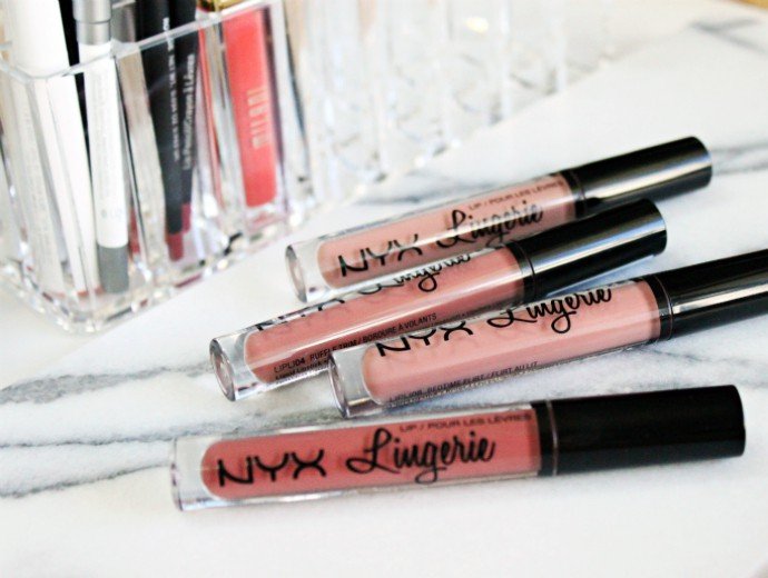 NYX Lip Lingerie Swatches of Push-Up, Bedtime Flirt, Exotic, and Ruffle Trim | Great Drugstore Matte Lipsticks