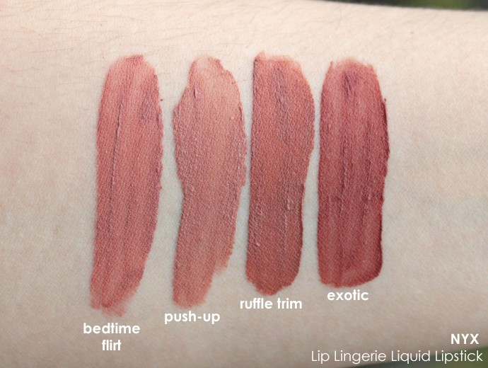8cdc310be2252 NYX Lip Lingerie Swatches of Push-Up, Bedtime Flirt, Exotic, and Ruffle