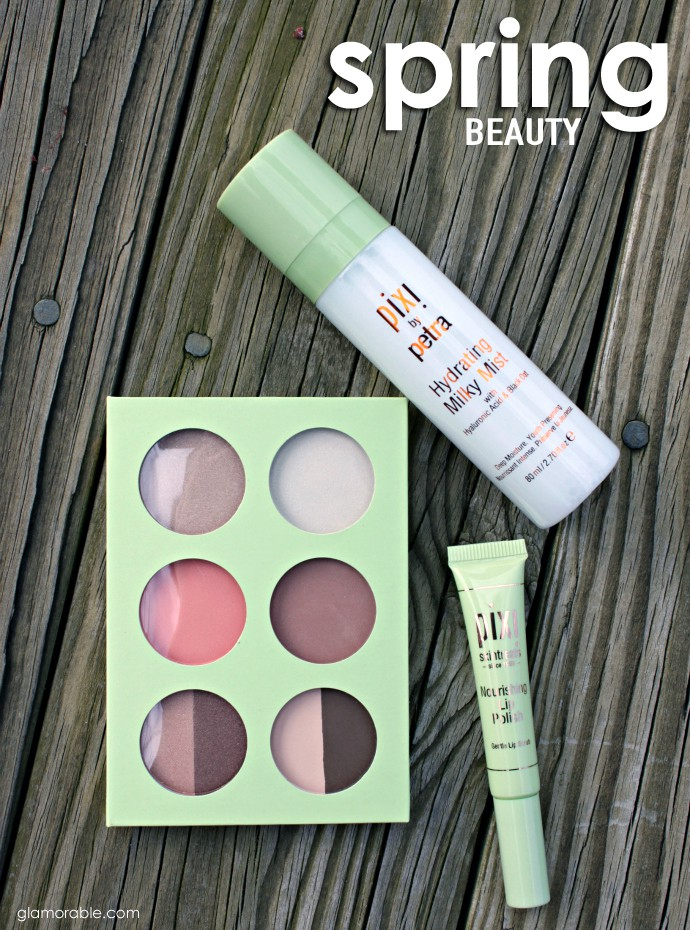 Spring Offerings from PIXI to Enhance Your Natural Beauty | PIXI Skintreats Nourishing Lip Polish, PIXI Hydrating Milky Mist, PIXI Book of Beauty Minimal Makeup