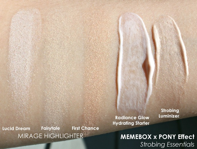 MEMEBOX x Pony Effect Highlight/Strobe Collection - Radiance Glow Hydrating Starter, Strobing Luminizer, Mirage Highlighter in Luxid Dream, Fairytale, First Chance (Swatches, Review)