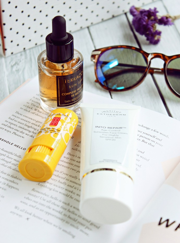 3 Unique Sun Care Products Missing from Your Beach Bag: Institut Esthederm Sun Intolerance Treatment High Protection Face Cream, Elizabeth Arden Eight Hour Cream Targeted Sun Defense Stick SPF50, and Guerlain Terracotta Sun Serum