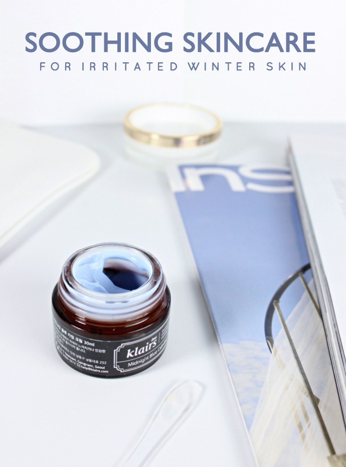 Blue Beauty Products to Soothe Winter Skin: TATCHA Indigo Soothing Triple Recovery Cream and dear klairs Midnight Blue Calming Cream