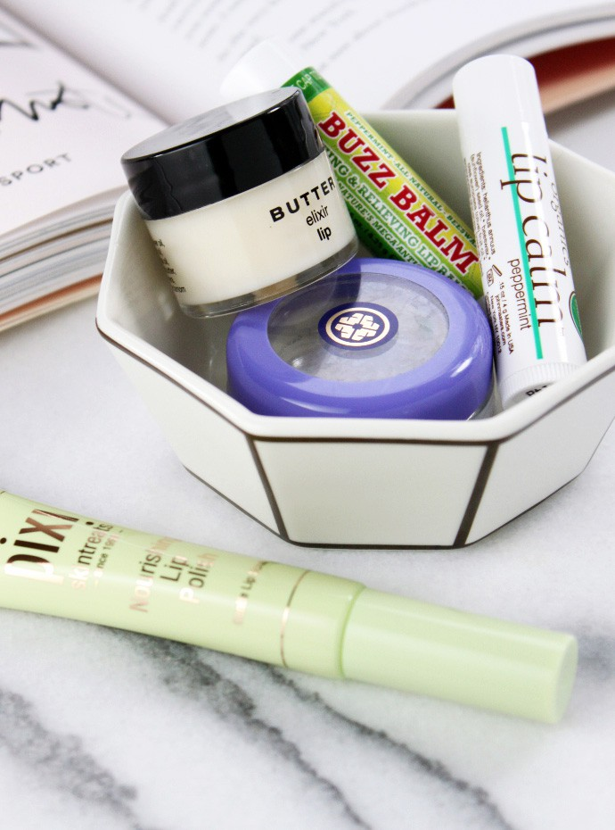 5 Best Lip Balms for Chapped Lips | Beessential Buzz Balm, PIXI Nourishing Lip Polish, BUTTER elixir lip balm, John Masters Organics Lip Calm, TATCHA Camellia Nourishing Lip Balm