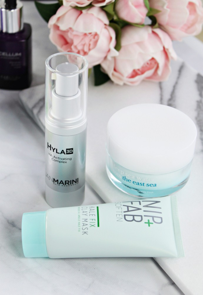 Trying Right Now ... New beauty products for Spring 2017 | Jan Marini Hyla3D HA Activating Complex, Nip+Fab Soften Kale Fix Clay Mask, nooni Deep Sea Water from the East Sea Ceramide Facial Cream