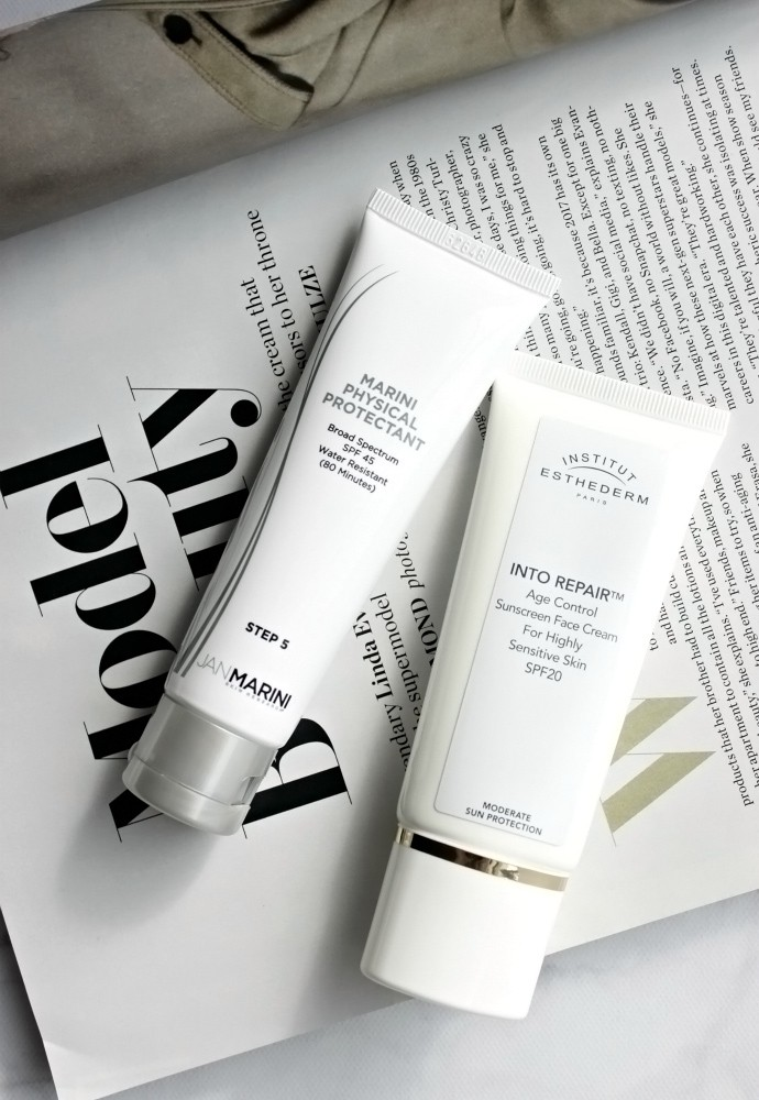 The Sunscreen Edit | The Best Sunscreens for Combination Skin - Jan Marini Marini Physical Protectant SPF 45, Institut Esthederm Into Repair Age Control Sunscreen,