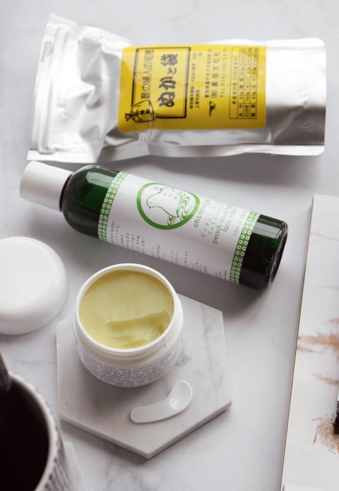 Chidoriya Review - 100% Natural Skincare from Japan   Clean Non-Toxic Beauty Brands, Peach Moon Herbal Water, Yuzu Seed Cleansing Balm, Komenuka Rice Bran Wash.