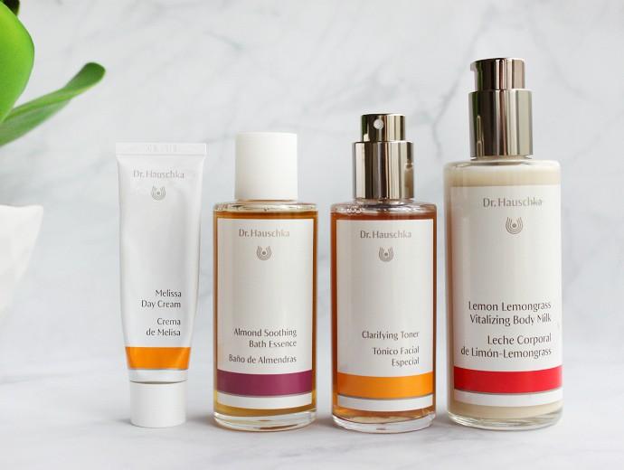 Natural Skincare Review, Dr. Hauschka Clarifying Toner, Melissa Day Cream, Almond Soothing Bath Essence, Lemon Lemongrass Vitalizing Body Milk
