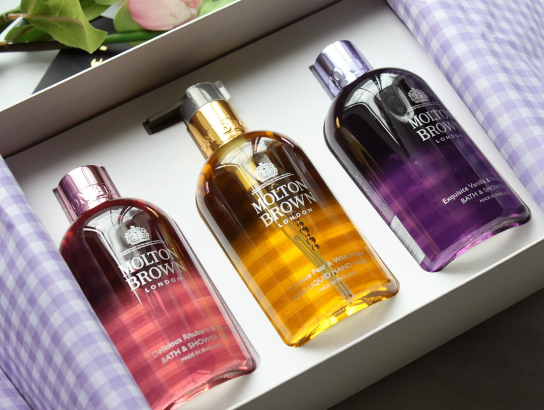 Molton Brown The Patisserie Parlour Collections: Delicious Rhubarb & Rose, Comice Pear & Wild Honey, and Exquisite Vanilla & Violet Flower