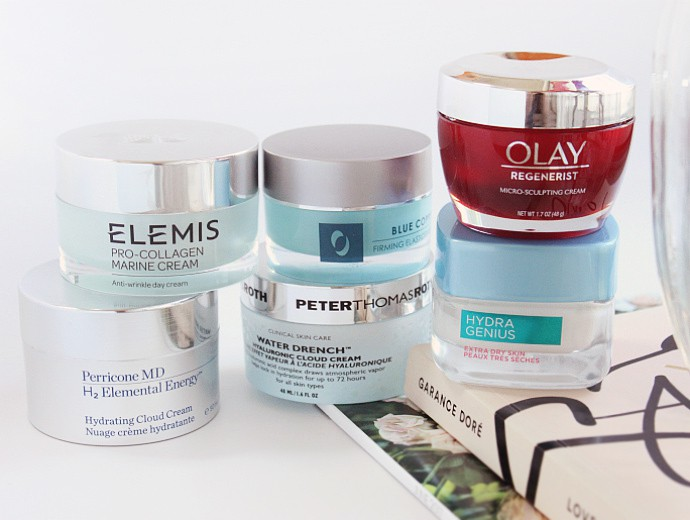 Best Hydrating Summer Moisturizers for All Skin Types & Budgets - L'Oreal Hydra Genius Daily Liquid Care Extra Dry Skin, Olay Regenerist Micro-Sculpting Cream, Peter Thomas Roth Water Drench Hyaluronic Cloud Cream , Osmotics Blue Copper 5 Firming Elasticity Repair, Perricone MD H2 Elemental Energy Hydrating Cloud Cream, Elemis Pro-Collagen Marine Cream