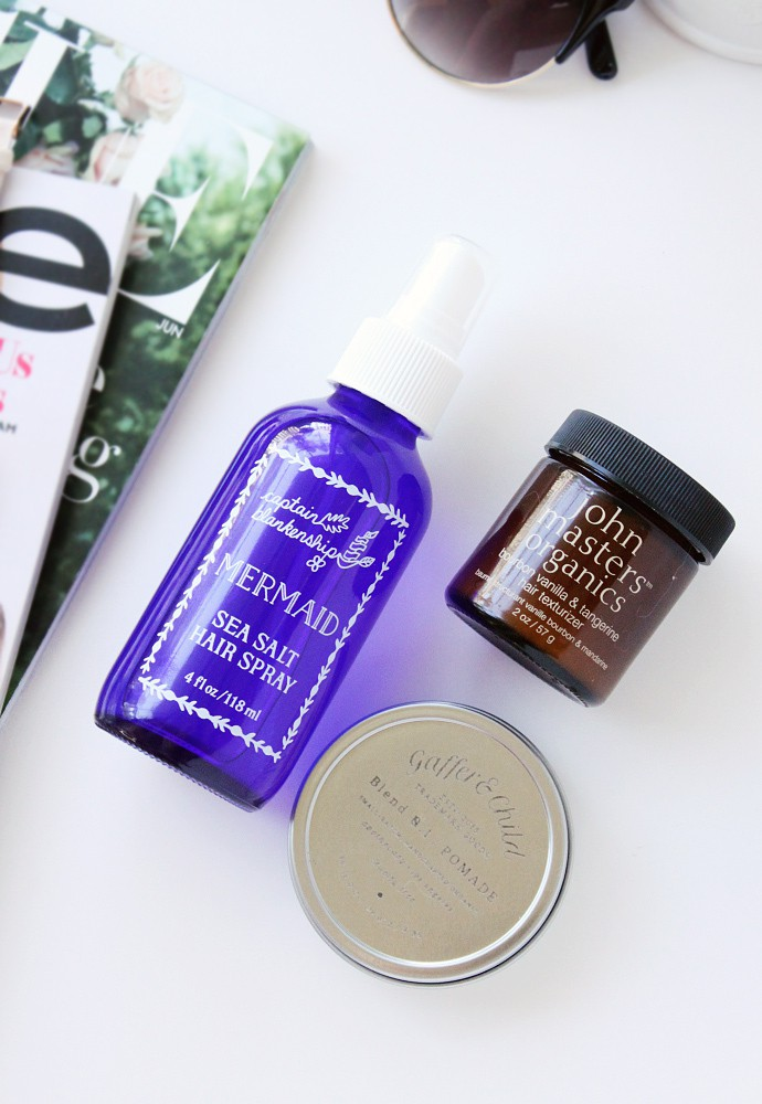 Beachy Waves Using Natural, Organic & Non-Toxic Hair Styling Products - Gaffer & Child Hair Pomade, John Masters Organics Bourbon Vanilla & Tangerine Hair Texturizer, Captain Blankenship Mermaid Sea Salt Hair Spray Review and Demo