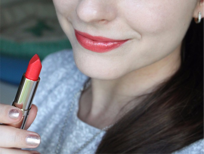 Estee Lauder Pure Color Love Lipstick Review & Swatches - 360 Flash Chill (lip swatch)
