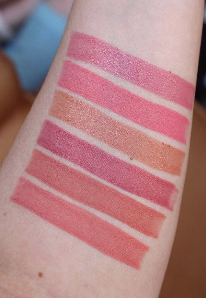 Estee Lauder Pure Color Love Lipstick Review & Swatches - 430 Crazy Beautiful (creme), 200 Proven Innocent (matte), 140 Naked City (creme), 130 Strapless (LE, creme), 110 Raw Sugar (matte), 100 Blaze Buff (matte)