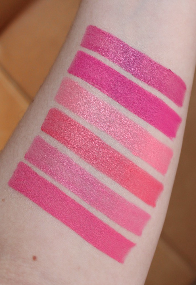 Estee Lauder Pure Color Love Lipstick Review & Swatches - 440 Hi-Voltage (LE, creme), 400 Rebel Glam (LE, matte), 260 Sky High (LE, shimmer), 250 Radical Chic (creme), 240 Pret-a-Party (creme), 210 Naughty-Nice (LE, matte)