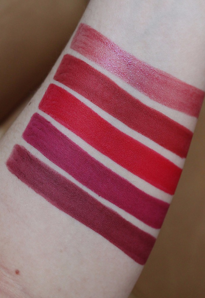 Estee Lauder Pure Color Love Lipstick Review & Swatches - 460 Ripped Raisin (shimmer), 320 Burning Love (matte), 310 Bar Red (matte), 230 Juiced Up (matte), 120 Rose Excess (matte)
