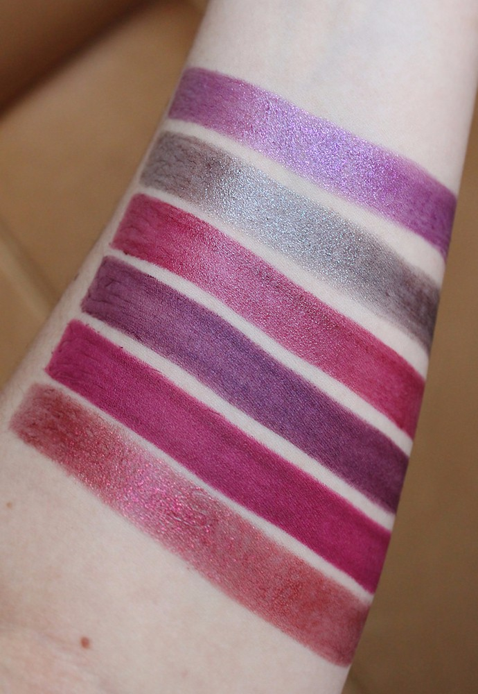 Estee Lauder Pure Color Love Lipstick Review & Swatches - 480 Nova Noir (LE, chrome), 470 Moon Rock (LE, chrome), 450 Orchid Infinity (creme), 420 Up Beet (matte), 410 Love Object (matte), 370 Pocket Venus (LE, chrome)