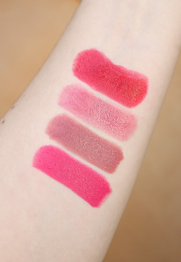Rimmel London Moisture Renew Lipstick Review & Swatches  500 Diva Red, 270 Crystal Mauve, 240 Tower of Mauve, 410 Dashing Raspberry.