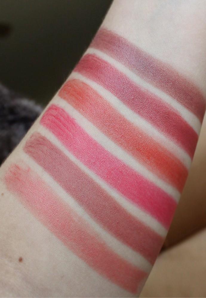 Review and Swatches: PIXIMattelustre Lipstick in Rose Naturelle, Bitten Rose, Peach Blossom; PIXI Shea Butter Lip Balm in Ripe Raspberry, Sweet Peach, Natural Rose - via @glamorable #pixibeauty #pixibypetra #lipstick #makeup