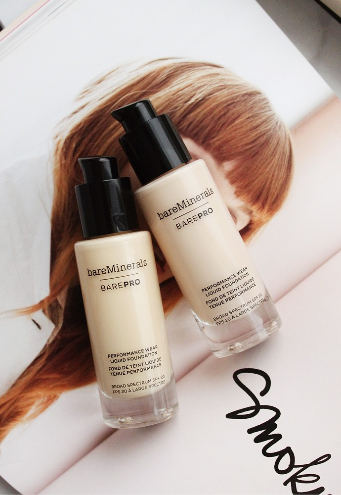 BareMinerals BarePRO Performance Wear Liquid Foundation Review & Demo 01 Fair, 03 Champagne Swatches - via @glamorable #bareminerals #makeup