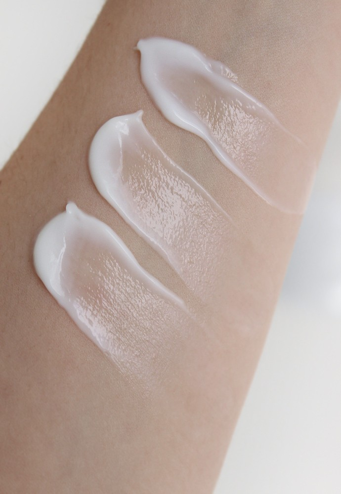 Arm swatches top to bottom: Origins Precipitation Continuous Moisture Recovery for Body, Whipped Body Cream Ginger Souffle, and Whipped Body Cream Smoothing Souffle.