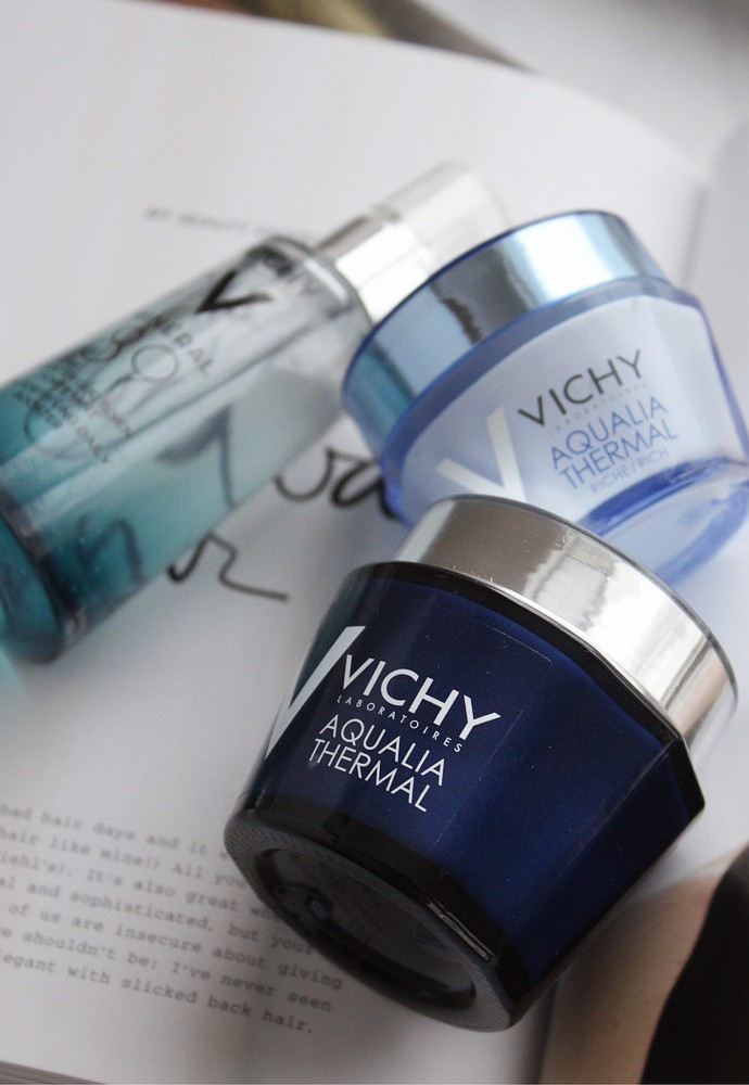 Best French pharmacy products for dry and dehydrated skin & Vichy skincare review - Mineral 89 Hyaluronic Acid Face Moisturizer, Aqualia Thermal Rich Cream, Aqualia Thermal Night Spa Replenishing Anti-Fatigue Sleeping Mask - via @glamorable #skincare #vichy #frenchbeauty #parisianbeauty #frenchskincare #frenchpharmacy