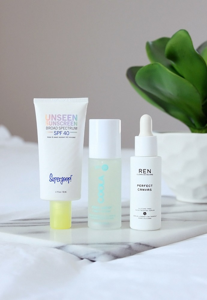 The Best Invisible Skin Primers - REN Perfect Canvas Skin Finishing Serum, Supergoop Unseen Sunscreen SPF40, COOLA Dawn Patrol SPF30