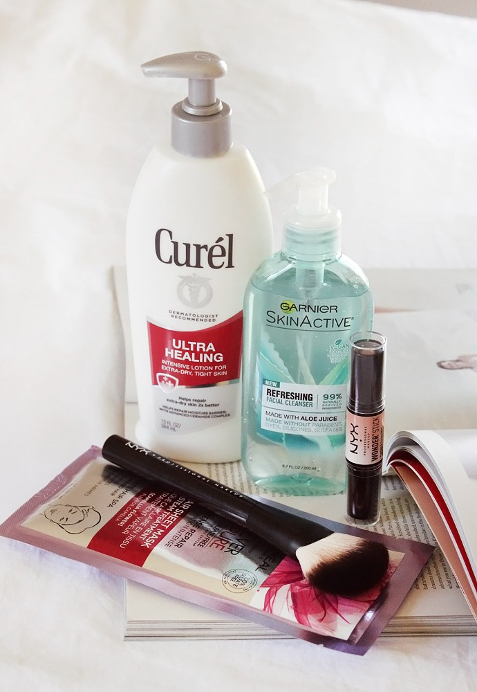 Best New Drugstore Products - Garnier SkinActive Refreshing Facial Cleanser -Curél Ultra Healing Intensive Lotion for Extra Dry Skin -NYX Wonder Stick Light Swatch -NYX Pro Fan Brush -L'Oreal EverPure Intense Repair Hair Sheet Mask | read more at glamorable.com