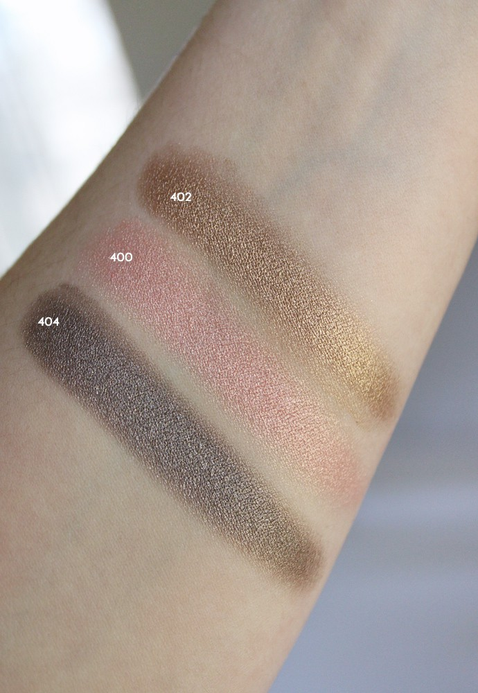 L'Oreal Infallible Paints Metallics Eye Shadow review and swatches of400 Rose Chrome, 402 Brass Knuckles, and 404 Caged