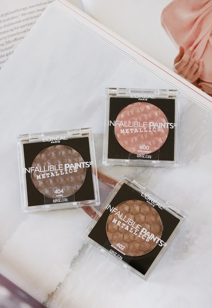 L'Oreal Infallible Paints Metallics Eye Shadow review and swatches of 400 Rose Chrome, 402 Brass Knuckles, and 404 Caged