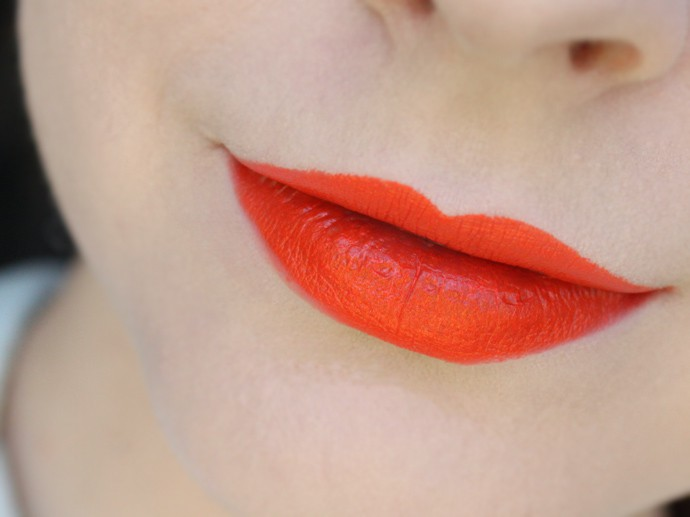 Best Cheap Orange Lipstick - e.l.f. Moisturizing Lipstick in Orange Dream Swatch & review - Drugstore Beauty | via @glamorable #elfcosmetics #bbloggers #orangelipstick #makeup