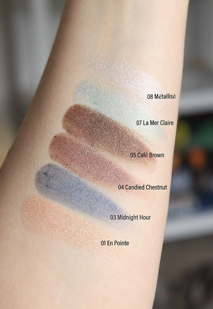 Paul & Joe Beaute Sparkling Eye Color Swatches & Review 01 En Pointe 03 Midnight Hour 04 Candied Chestnut 05 Café Brown 07 La Mer Claire 08 Métallisé