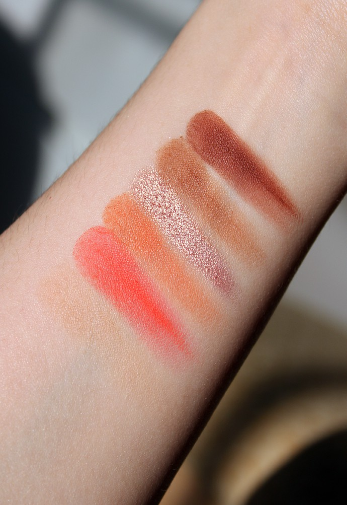 Violet Voss Coral Pop 6 Color Eyeshadow and Pressed Pigment Palette swatches